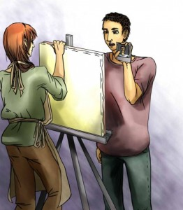 Painter and Man with self-photo
