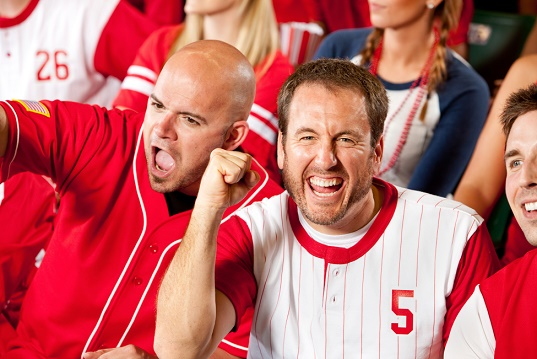 Fans: Pumped Up Baseball Fan Cheers to Camera