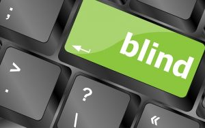Modern keyboard key with words blind