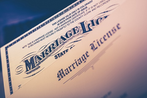 Marriage License Documents Closeup. United States Marriage License.
