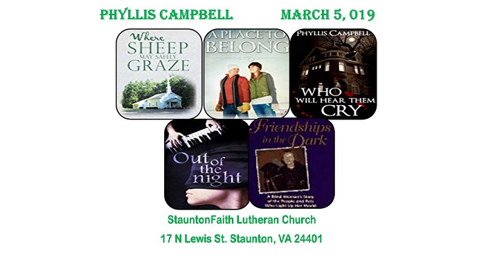 Phyllis Campbell Book Signing in Staunton, March 5