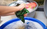 washing clothes by hands