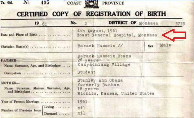 Breaking: Obama's Brother Shares Birth Certificate Showing Kenya as Obama's Birthplace