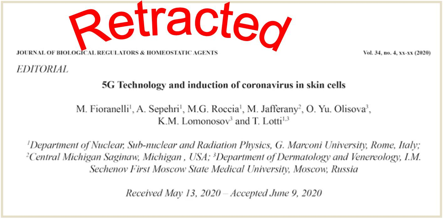 Politically Incorrect Study on 5G and COVID Infection Retracted by Journal