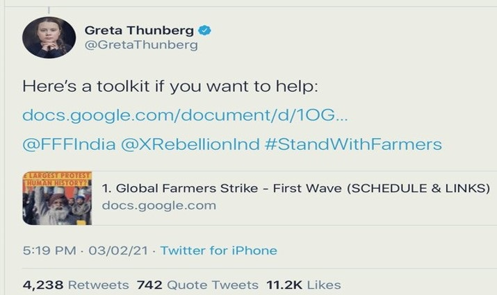 Greta Thunberg Blows Her Cover via Tweet Quickly Deleted