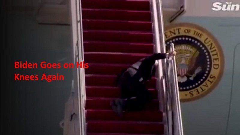 Unelected President Biden Falls on Air Force One Stairs